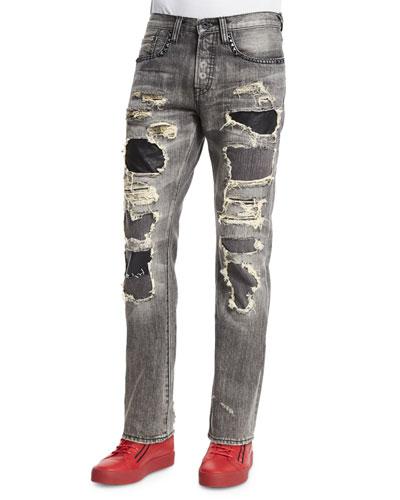 Leather Patchwork Distressed Denim Jeans