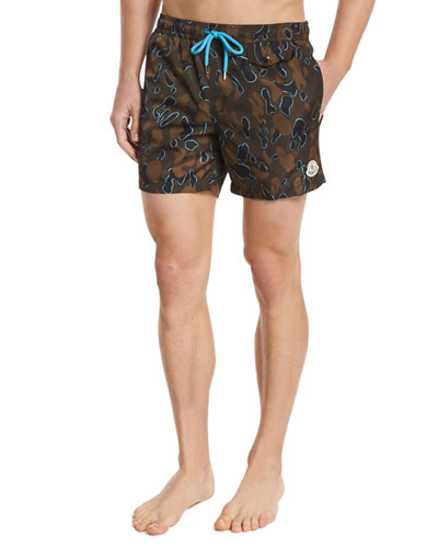 Camo-Print Swim Trunks, Multi