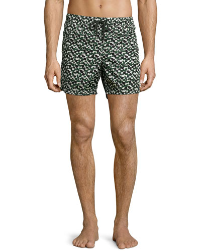 Geo-Print Swim Trunks, Blue/Black