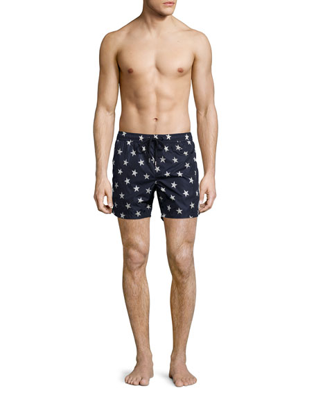 Star-Print Swim Trunks, Navy