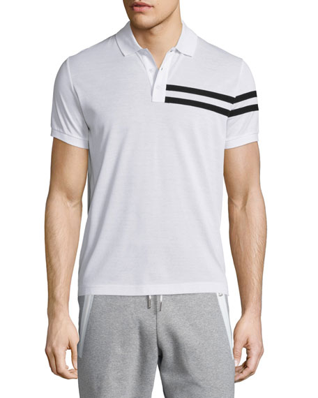 Side-Stripe Short-Sleeve Polo Shirt, White