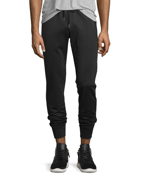 Zip-Pockets Drawstring Sweatpants, Black