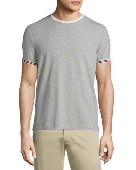 Tipped Crewneck Short-Sleeve T-Shirt, Gray