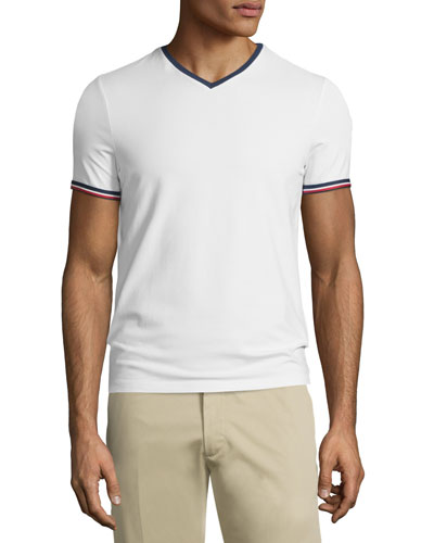 Tipped Short-Sleeve Tee, White