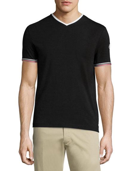 Tape-Tipped Short-Sleeve T-Shirt, Black