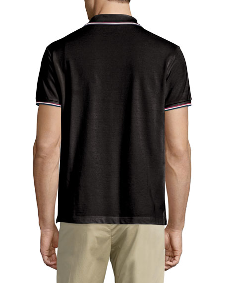 2041ac7f Moncler Twin-Tipped Short-Sleeve Pique Polo, Black