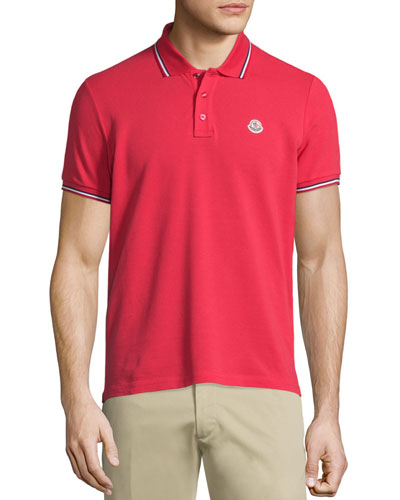 Tape-Tipped Short-Sleeve Pique Polo Shirt, Red