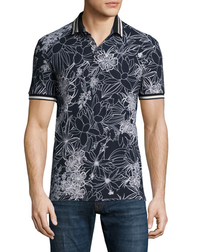 Floral-Print Short-Sleeve Pique Polo Shirt, Black/White