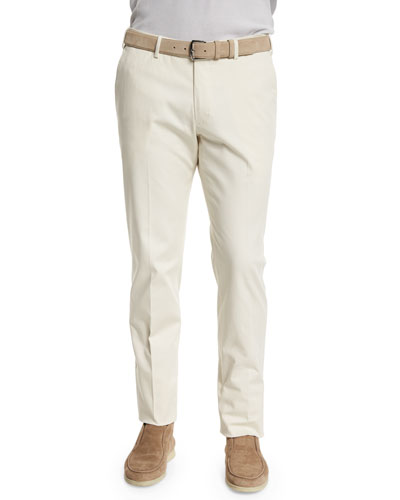 Stretch-Cotton Slim-Fit Trouser Pants, Oyster White