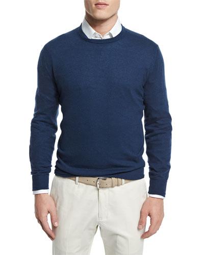 Baby Cashmere Crewneck Sweater, Shanghai Blue