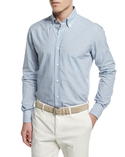 Check Long-Sleeve Sport Shirt, Light Blue/Gray