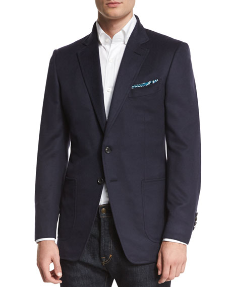 O'Connor Base Brushed Cashmere Twill Blazer, Navy
