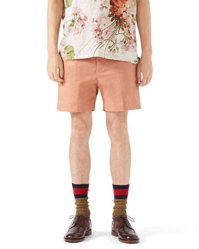 Stretch-Gabardine Shorts, Peach