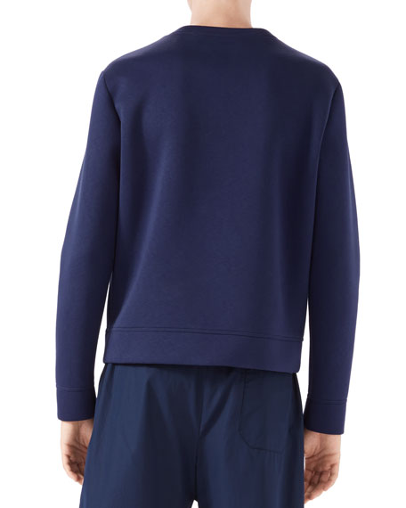 Long-Sleeve Embroidered Bird Sweatshirt, Ink/Black