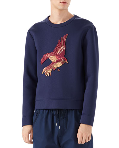 Long-Sleeve Embroidered Bird Sweatshirt, Ink/Black