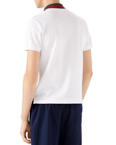 Short-Sleeve Pique-Knit Polo w/Striped Collar, White