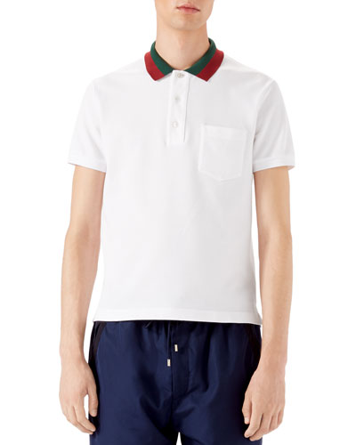 Short-Sleeve Pique-Knit Polo w/Striped Collar, White