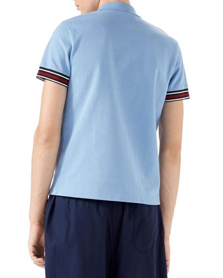 Cotton Piquet Polo Shirt with Web Detail, Blue