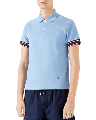 Cotton Piquet Polo Shirt with Web Detail, Blue