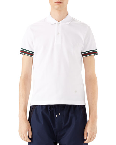 Cotton Piquet Polo Shirt with Web Detail, White