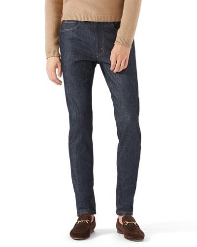 Skinny Stretch Denim Jeans, Dark Blue