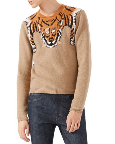 Tiger Long-Sleeve Sweater, Tan