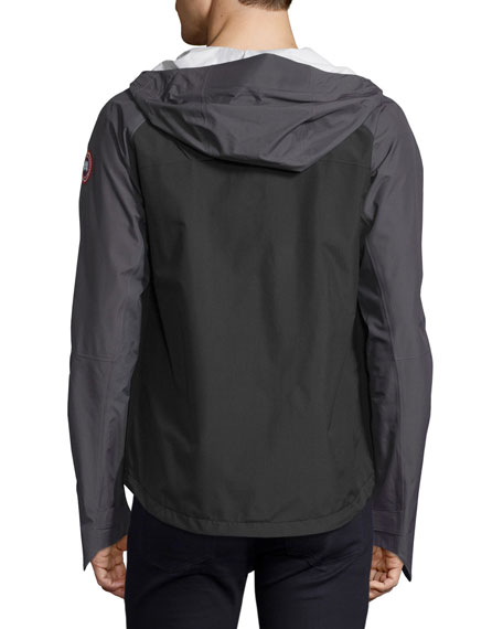 Alderwood Hooded Nylon Shell Jacket, Black