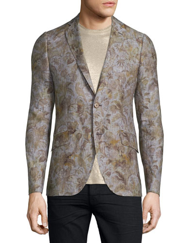 Leaf-Print Two-Button Linen Blazer, Natural