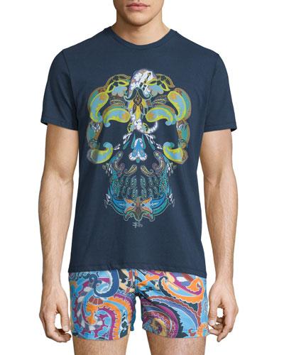 Paisley Skull-Print Short-Sleeve T-Shirt, Navy