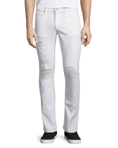 Kane Distressed Straight-Leg Jeans, Whitman
