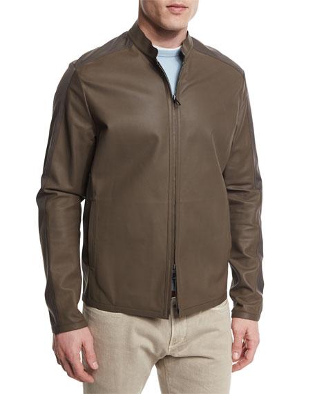Two-Tone Leather/Windmate Zip Jacket, Laurel
