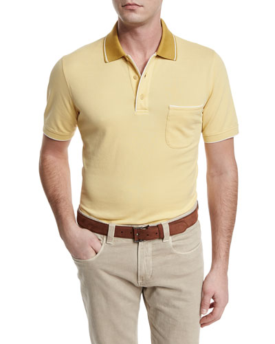 Regatta Contrast-Collar Polo Shirt, Sunset Gold