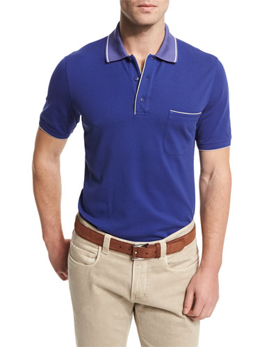 Regatta Short-Sleeve Pique Polo Shirt, Blue Navy