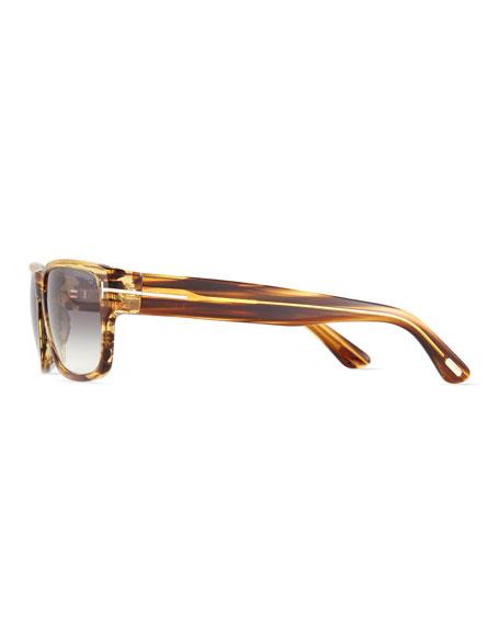 Mason Shiny Striped Sunglasses, Brown