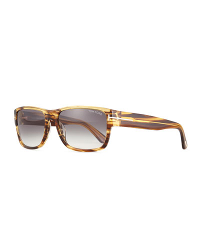 Mason Shiny Striped Sunglasses, Brown
