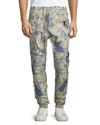 Dyed Moto Jogger Pants, Blue/Yellow