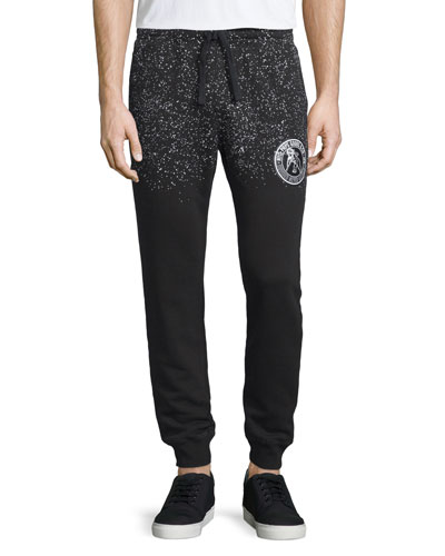 Speckled Logo-Patch Sweatpants, Black/White