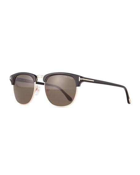 f95fb770f99 TOM FORD Henry Shiny Rose Gold Half-Rim Sunglasses