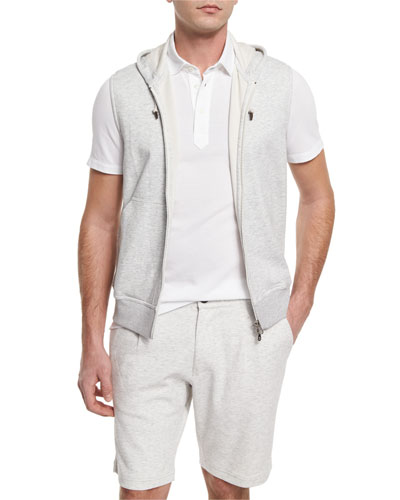 Zip-Up Hooded Vest, Off White