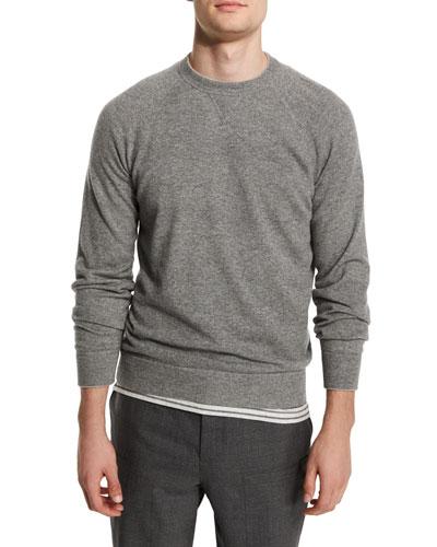 Solomeo Cashmere-Blend Crewneck Sweater, Medium Gray/Dove