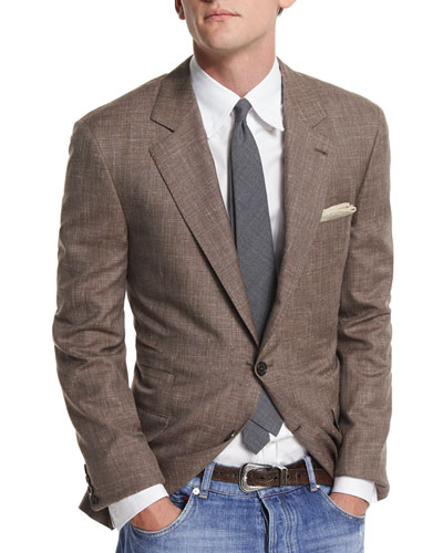 Flamed Wool-Blend Sport Coat, Brown