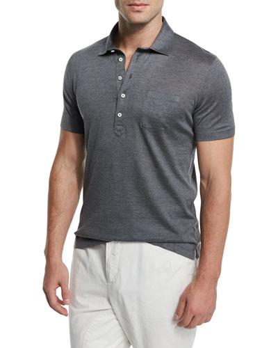 Silk/Cotton Short-Sleeve Polo Shirt, Medium Gray