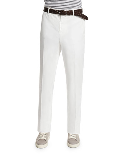 Flat-Front Cotton Trousers, Off White