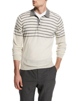 Striped Wool/Cashmere Polo Sweater, White/Mid Gray
