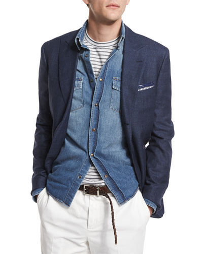 Tonal-Plaid Two-Button Blazer, Deep Blue