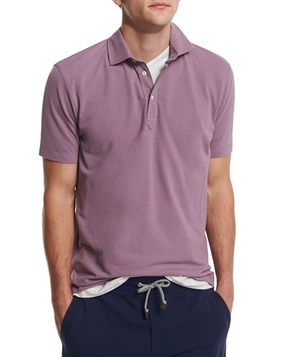 Short-Sleeve Pique Polo Shirt, Blueberry