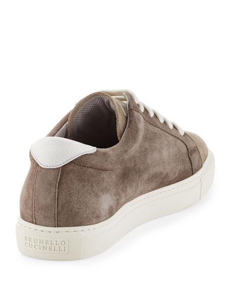 Two-Tone Suede Low-Top Sneaker, Beige