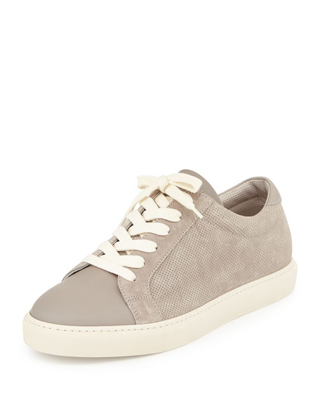 Men's Perforated Suede Low-Top Sneaker, Gray
