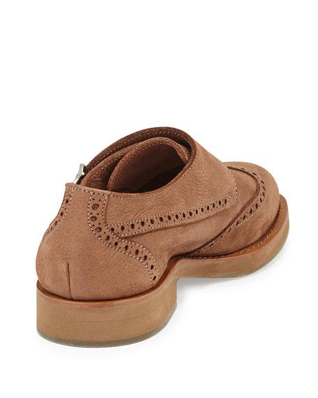 Leather Monk-Strap Wing-Tip Loafer, Beige