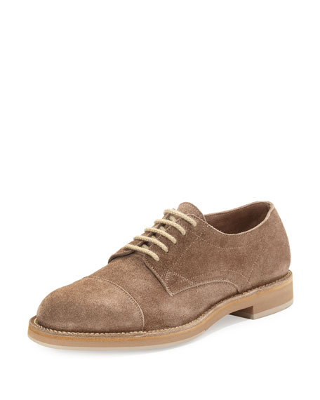 Brunello Cucinelli Cap-Toe Suede Lace-Up Shoe, Mushroom